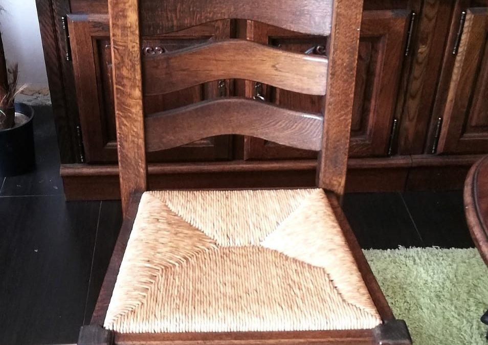 Conjunto de 4 sillas enea en roble [1920004]